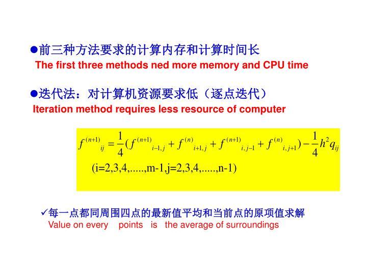 前三种方法要求的计算内存和计算时间长