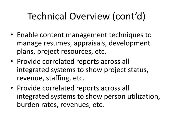 Technical Overview (cont'd)