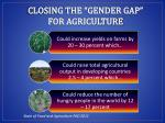 closing the gender gap for agriculture