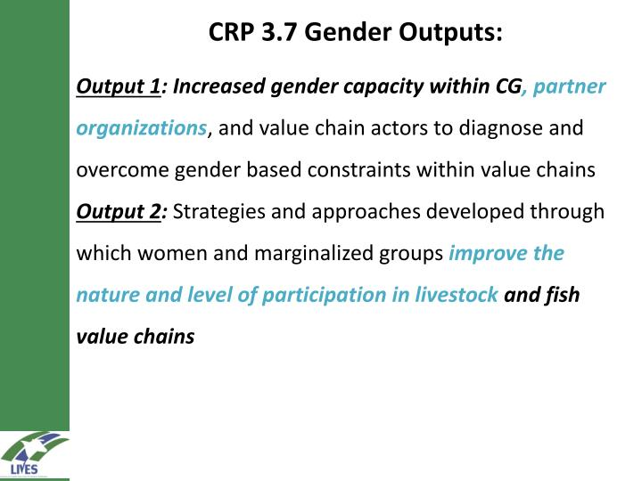 CRP 3.7 Gender Outputs: