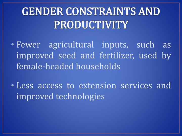 GENDER CONSTRAINTS AND PRODUCTIVITY