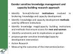 gender sensitive knowledge m anagement and capacity building research approach