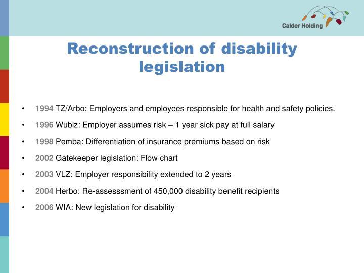 Reconstruction of disability legislation