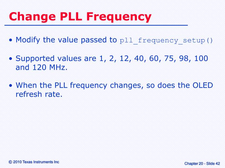 Change PLL Frequency