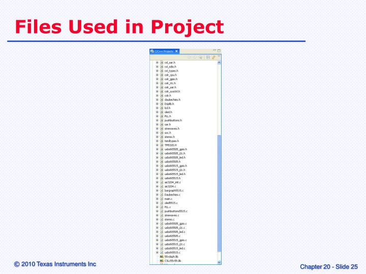 Files Used in Project