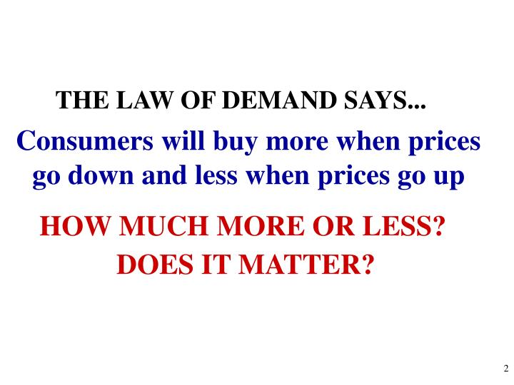 THE LAW OF DEMAND SAYS...