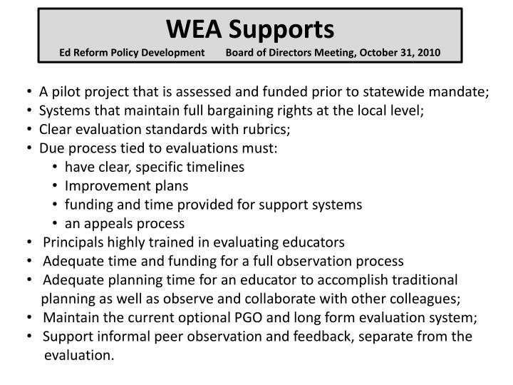 WEA Supports