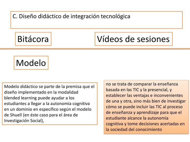 C. Diseño didáctico de integración tecnológica