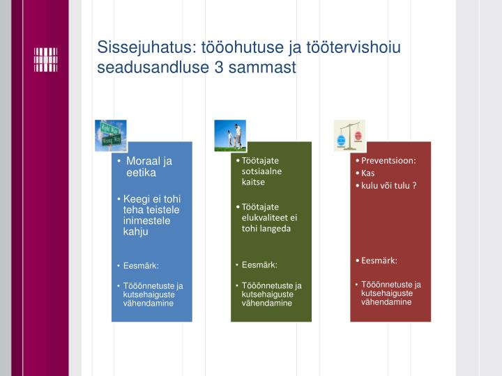 Sissejuhatus: tööohutuse ja töötervishoiu seadusandluse 3 sammast
