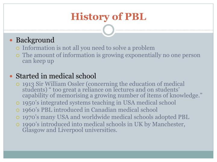 History of PBL