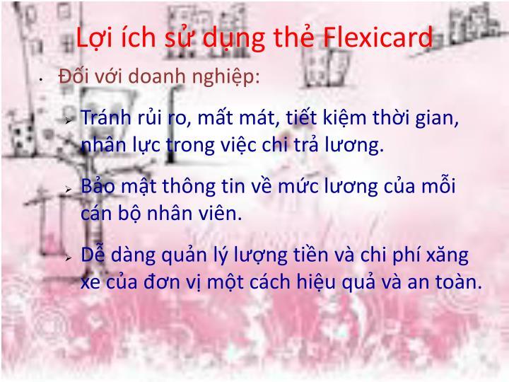 Lợi ích sử dụng thẻ Flexicard