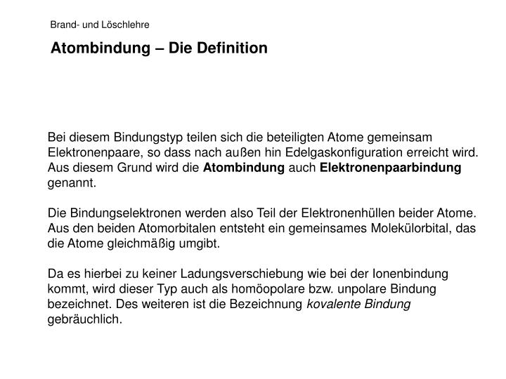 Atombindung – Die Definition