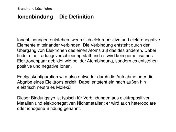 Ionenbindung – Die Definition