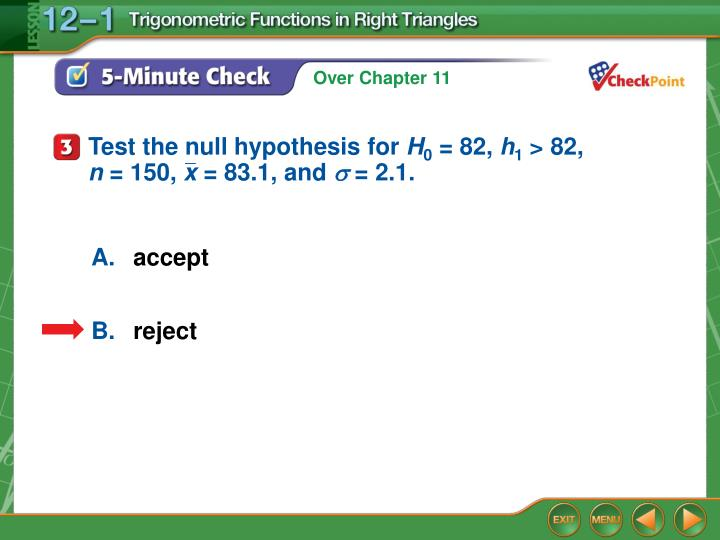 Test the null hypothesis for