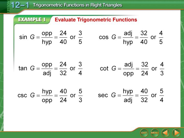 Evaluate Trigonometric Functions