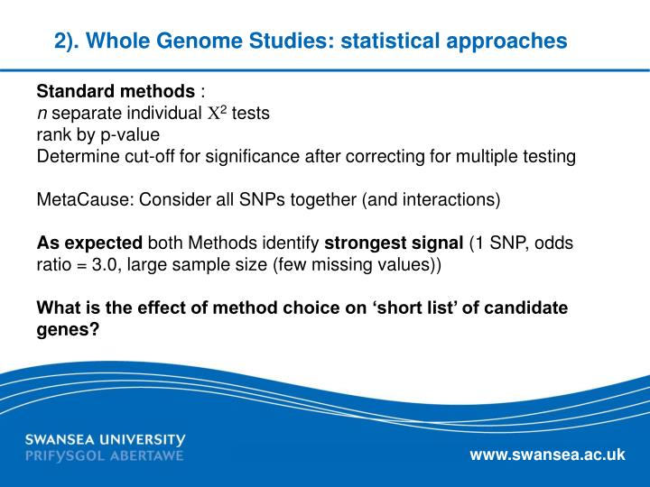 2). Whole Genome Studies: statistical approaches