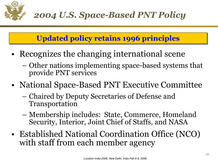 2004 U.S. Space-Based PNT Policy