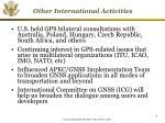 other international activities