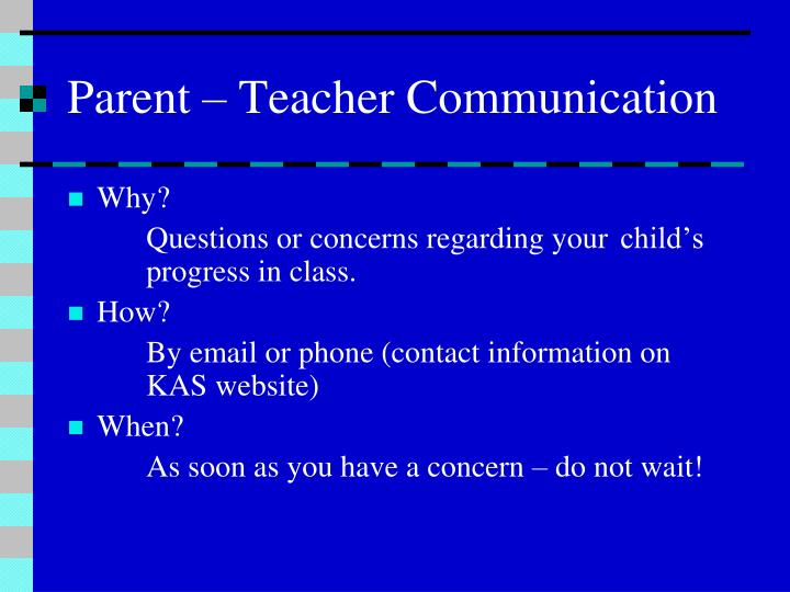 Parent – Teacher Communication