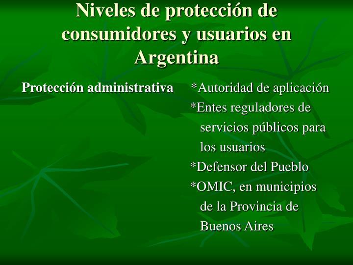 Niveles de protección de consumidores y usuarios en Argentina