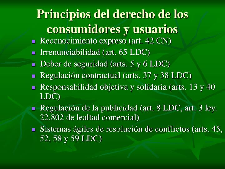 Principios del derecho de los consumidores y usuarios