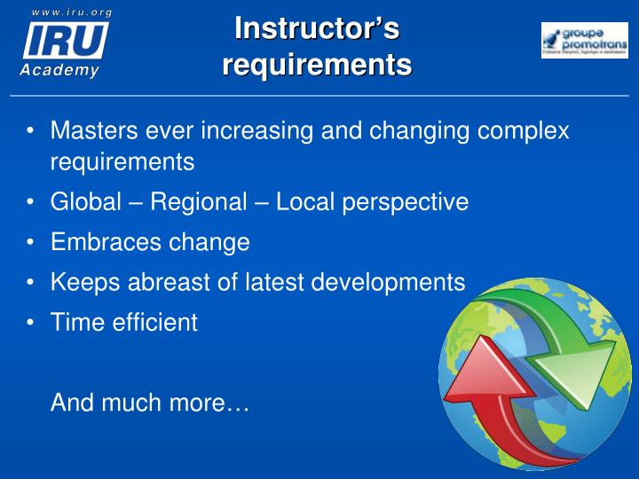 Instructor's requirements