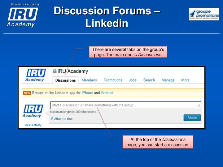 Discussion Forums –