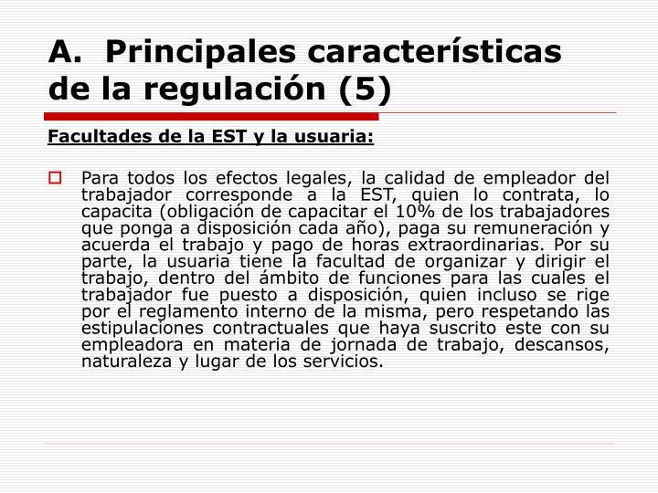 A.  Principales características de la regulación (5)