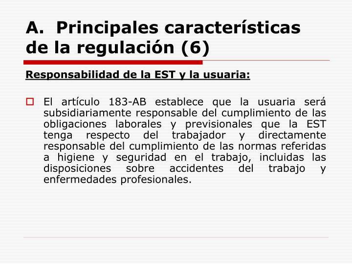 A.  Principales características de la regulación (6)