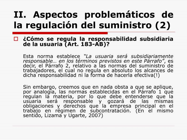 II. Aspectos problemáticos de la regulación del suministro (2)
