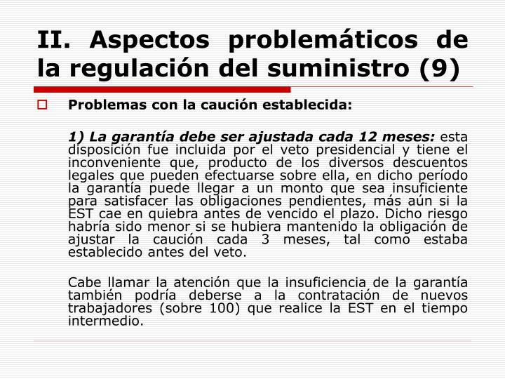 II. Aspectos problemáticos de la regulación del suministro (9)