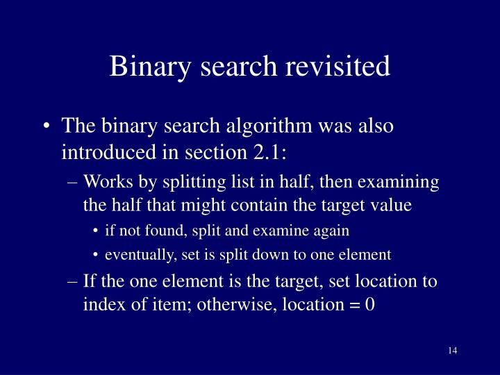 Binary search revisited