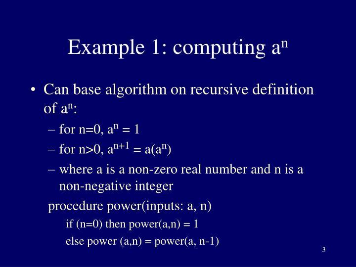 Example 1: computing a