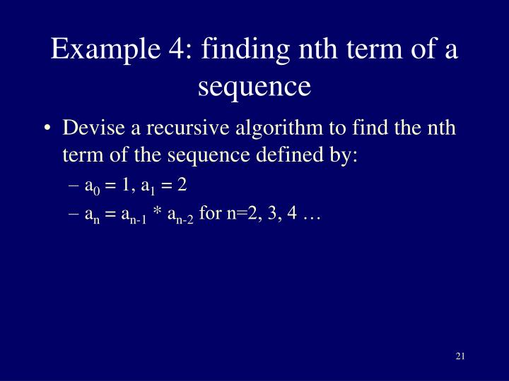 Example 4: finding nth term of a sequence