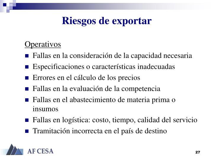 Riesgos de exportar