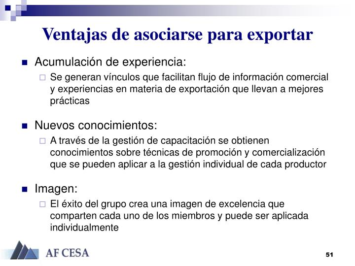 Ventajas de asociarse para exportar