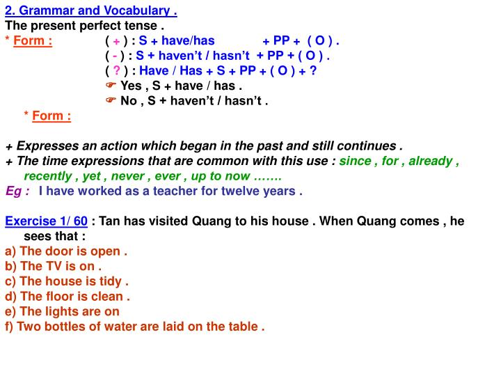 2. Grammar and Vocabulary .