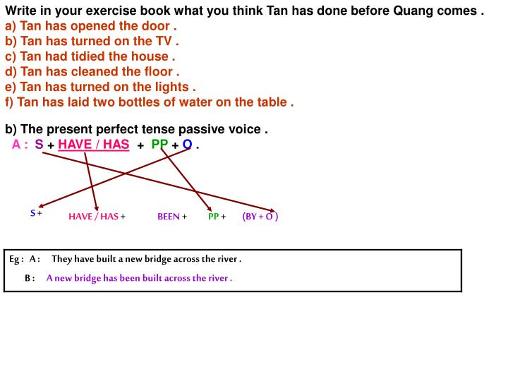 Write in your exercise book what you think Tan has done before Quang comes .