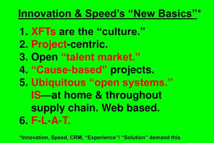 "Innovation & Speed's ""New Basics"""