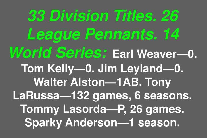 33 Division Titles. 26 League Pennants. 14 World Series: