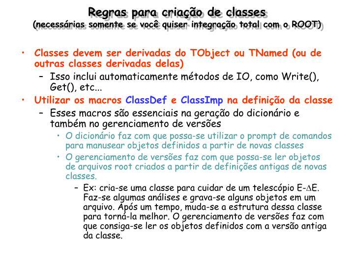 Regras para criação de classes