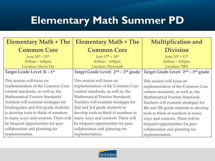 Elementary Math Summer PD
