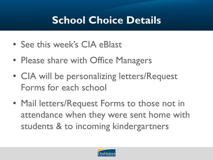 School Choice Details