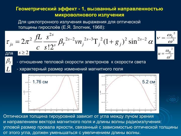 Геометрический эффект - 1, вызванный направленностью микроволнового излучения