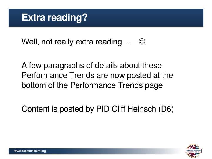 Extra reading?