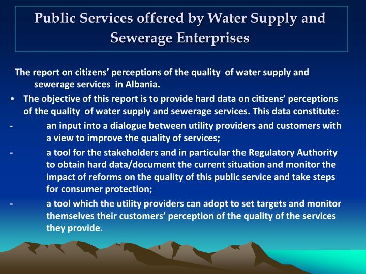 Public Services offered by Water Supply and Sewerage Enterprises