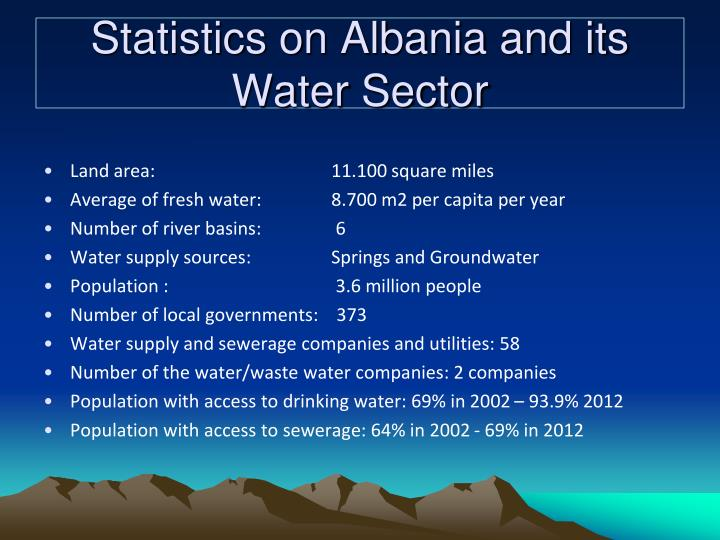 Statistics on Albania and its Water Sector