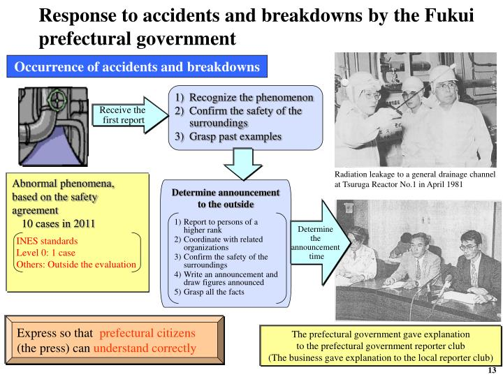 Response to accidents and breakdowns by the Fukui prefectural government