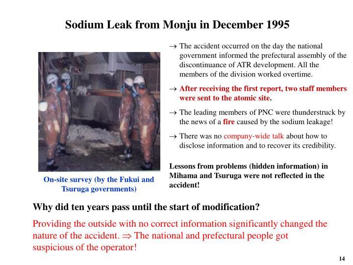Sodium Leak from Monju in December 1995