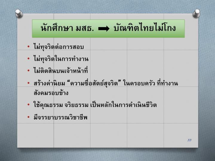 นักศึกษา มสธ.         บัณฑิตไทยไม่โกง